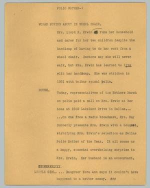 Primary view of object titled '[News Script: Polio mother]'.
