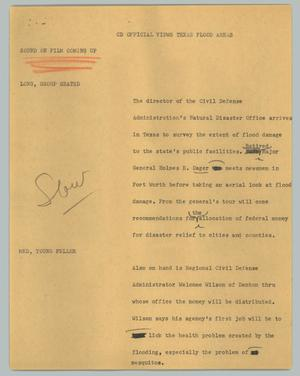Primary view of object titled '[News Script: CD officials views Texas flood areas]'.