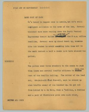 Primary view of object titled '[News Script: Pile-up on expressway]'.