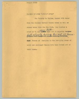 Primary view of object titled '[News Script: Dallas river]'.