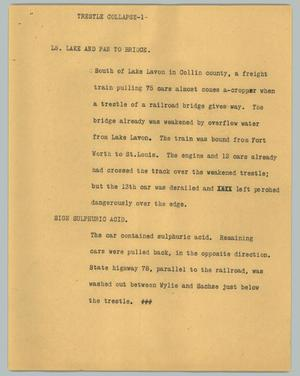Primary view of object titled '[News Script: Trestle collapse]'.