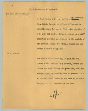 Primary view of object titled '[News Script: Youth delinquent in shooting]'.