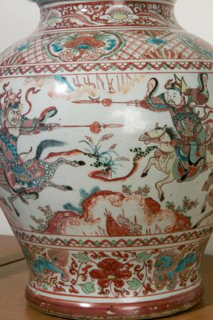 Primary view of object titled 'Covered Jar (Potiche) Decorated with Horsemen and Dogs'.