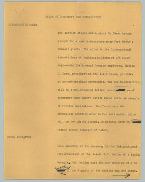 Primary view of object titled '[News Script: Union to construct new headquarters]'.