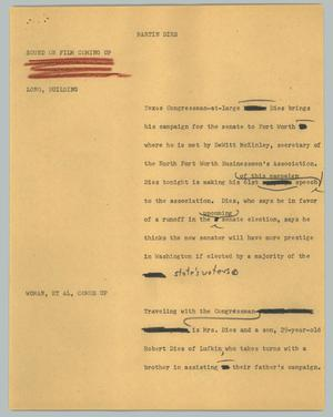 Primary view of object titled '[News Script: Martin Dies]'.