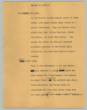 Primary view of object titled '[News Script: Negroes in court]'.