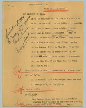 Primary view of object titled '[News Script: Dallas council]'.