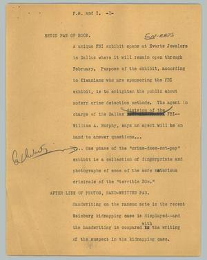 Primary view of [News Script: F. B. and I.]