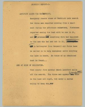 Primary view of object titled '[News Script: Drowning report]'.