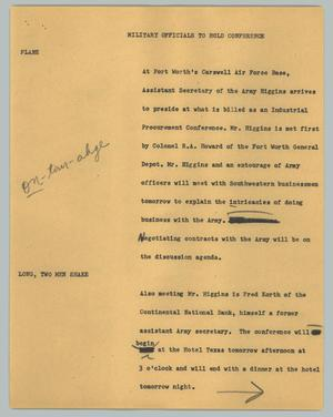 Primary view of object titled '[News Script: Military officials to hold conference]'.