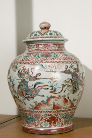 Covered Jar (Potiche) Decorated with Horsemen and Dogs