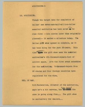 Primary view of object titled '[News Script: Auditorium]'.