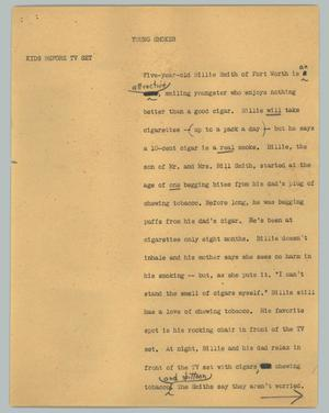 Primary view of object titled '[News Script: Young smoker]'.