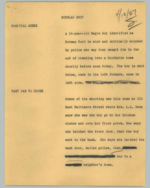 Primary view of object titled '[News Script: Burglar shot]'.