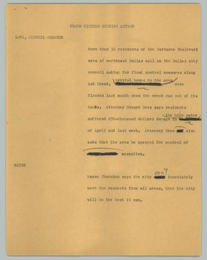 Primary view of object titled '[News Script: Flood victims seeking action]'.