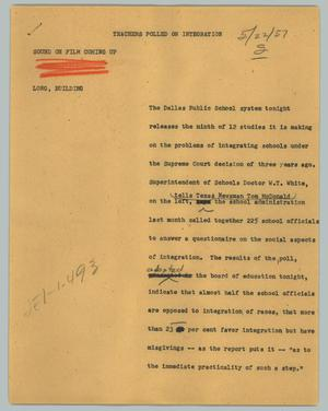 Primary view of object titled '[News Script: Teachers polled on integration]'.