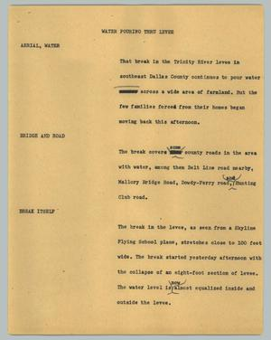 Primary view of object titled '[News Script: Water pouring thru levee]'.
