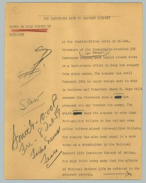 Primary view of object titled '[News Script: OCT directors seek to salvage company]'.
