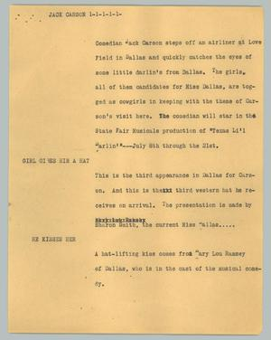 Primary view of object titled '[News Script: Jack Carson]'.