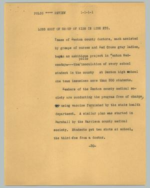 Primary view of object titled '[News Script: Polio - review]'.