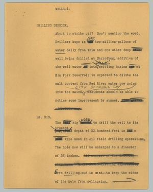Primary view of object titled '[News Script: Wells]'.