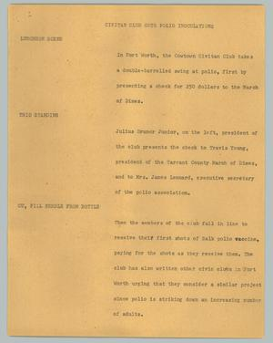 Primary view of object titled '[News Script: Civitan Club gets polio inoculations]'.