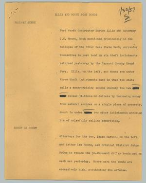 Primary view of object titled '[News Script: Ellis and Mount post bonds]'.