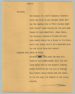 Primary view of object titled '[News Script: Play]'.