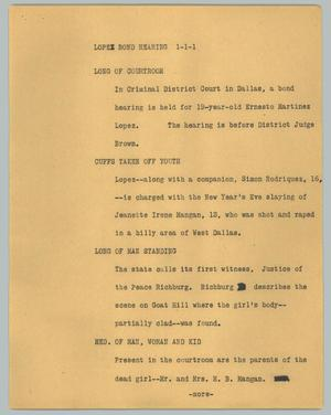 Primary view of object titled '[News Script: Lopez bond hearing]'.