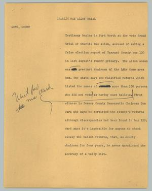 Primary view of object titled '[News Script: Charlie May Allen trial]'.