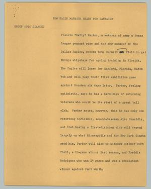 Primary view of object titled '[News Script: New Eagle manager ready for campaign]'.