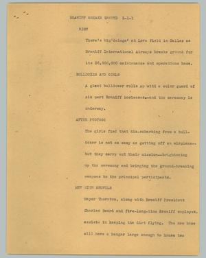 Primary view of object titled '[News Script: Braniff breaks ground]'.