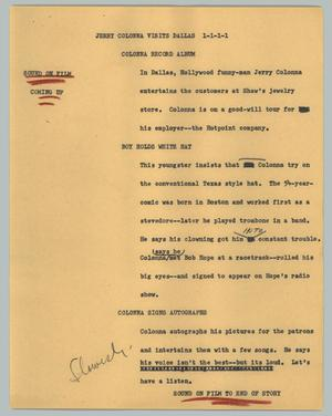 Primary view of object titled '[News Script: Jerry Colonna visits Dallas]'.