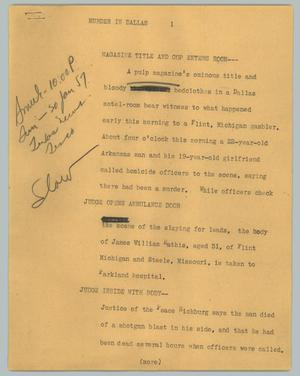 Primary view of object titled '[News Script: Murder in Dallas]'.