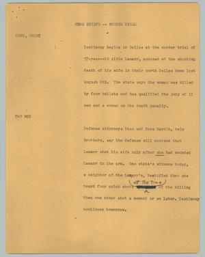 Primary view of object titled '[News Script: News briefs - murder trial]'.