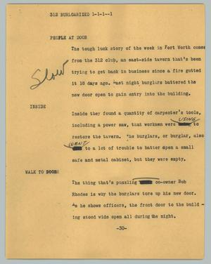 Primary view of object titled '[News Script: Burglarized]'.
