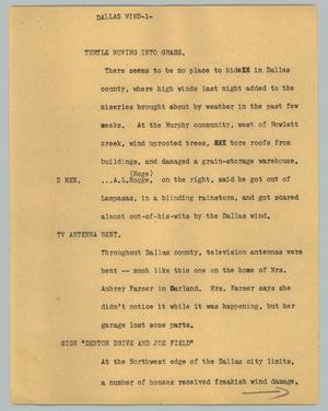 Primary view of object titled '[News Script: Dallas wind]'.