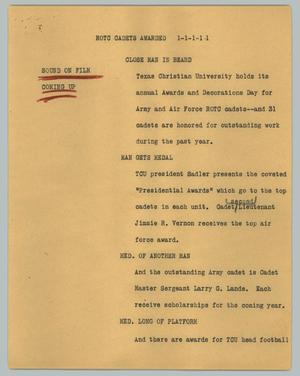 Primary view of object titled '[News Script: ROTC cadets awarded]'.