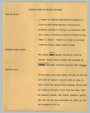 Primary view of object titled '[News Script: Charges filed in trailer shooting]'.