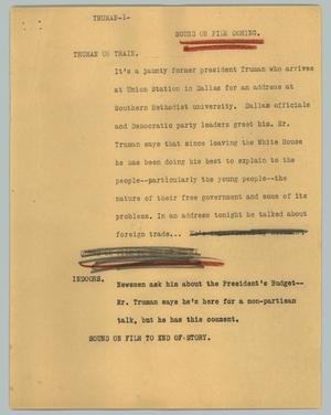 Primary view of object titled '[News Script: Truman]'.