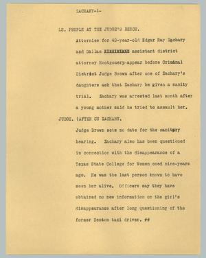 Primary view of object titled '[News Script: Zachary]'.