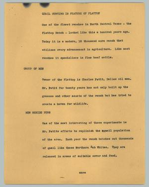 Primary view of [News Script: Quail hunting is feature of flattop]