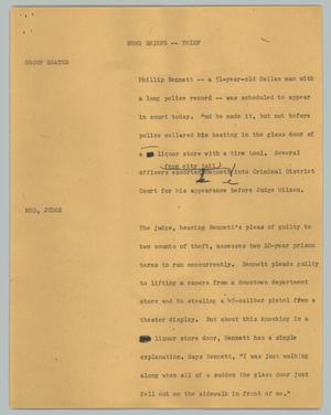 Primary view of object titled '[News Script: News briefs -- thief]'.