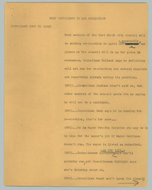 Primary view of object titled '[News Script: Most councilmen to ask reelection]'.