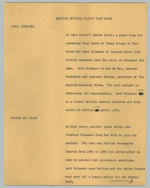 Primary view of object titled '[News Script: British Official Visits Fort Worth]'.