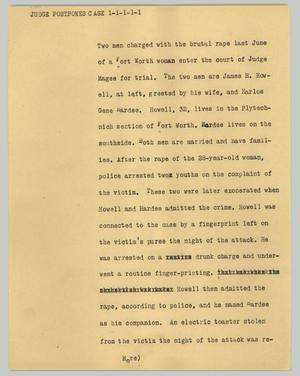 Primary view of object titled '[News Script: Judge postpones case]'.