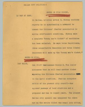 Primary view of object titled '[News Script: Dallas city politics]'.