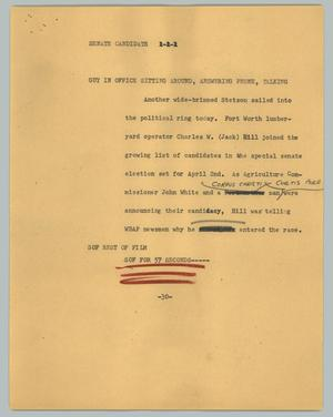 Primary view of object titled '[News Script: Senate candidate]'.