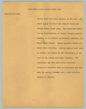 Primary view of object titled '[News Script: Councilmen appear before grand jury]'.
