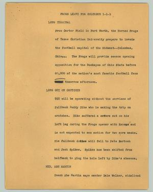 Primary view of object titled '[News Script: Frogs leave for Columbus]'.
